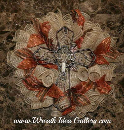 Fall Deco Mesh Cross Wreath #www.wreathideagallery.com