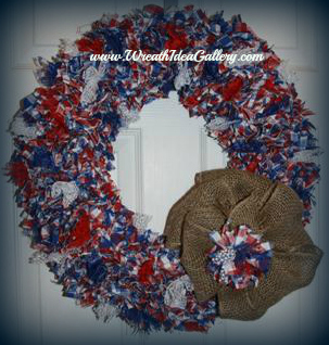 Patriotic fabric punch wreath