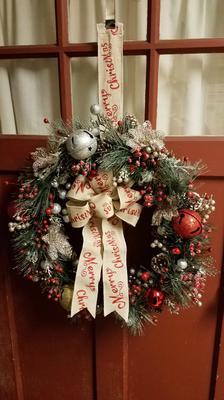 Burlap Merry Christmas Wreath
